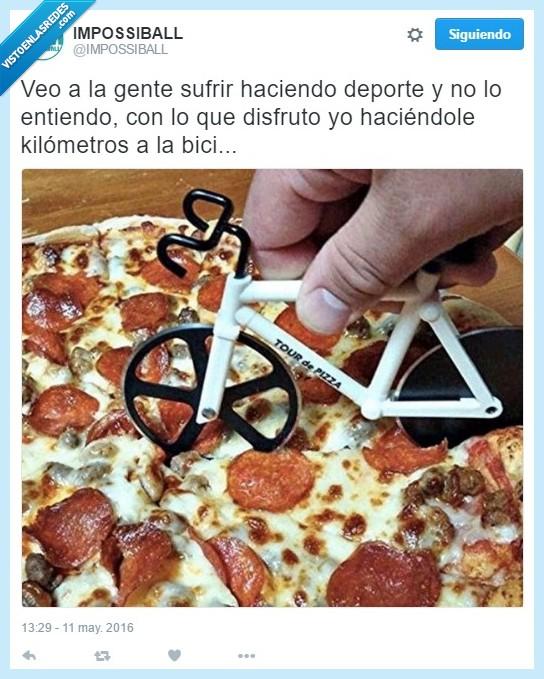 bicicleta,deporte,pizza