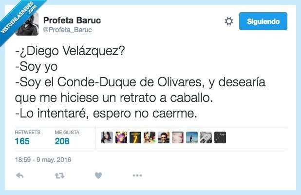 caballo,caer,conde,desear,Diego Velazquez,duque,intentar,olivares,retrato