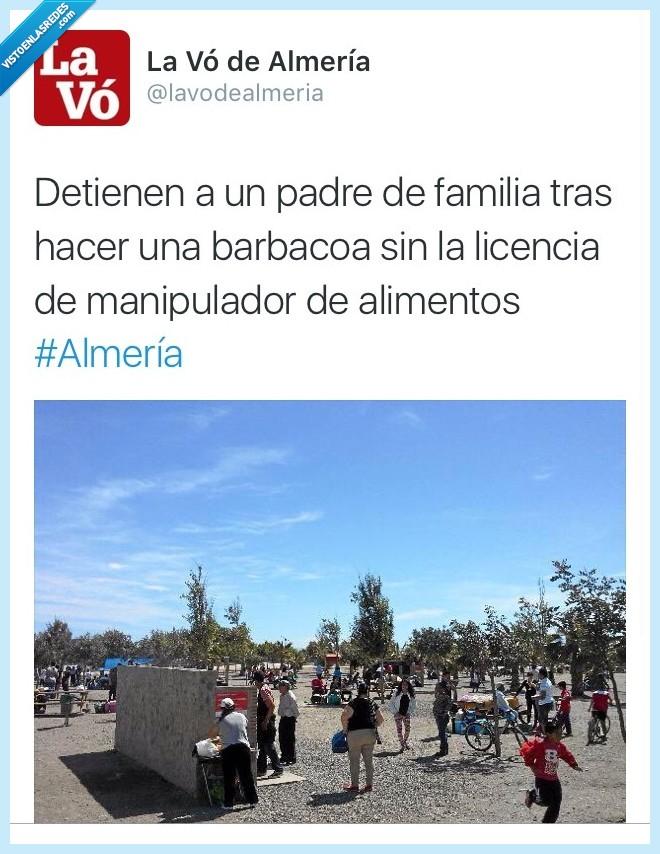 alimentos,Almería,barbacoa,detener,detienen,familia,licencia,manipulador,padre