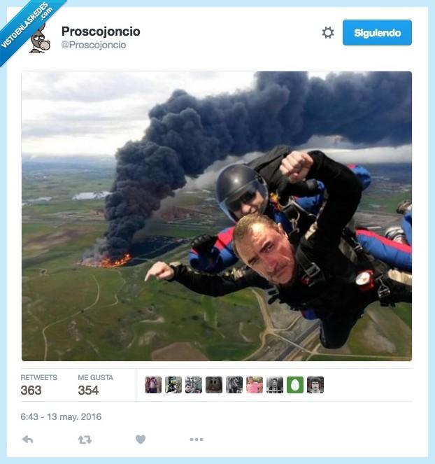 Carlos Herrera,fuego,incendio,neumaticos,paracaidismo,ruedas,selfie,seseña