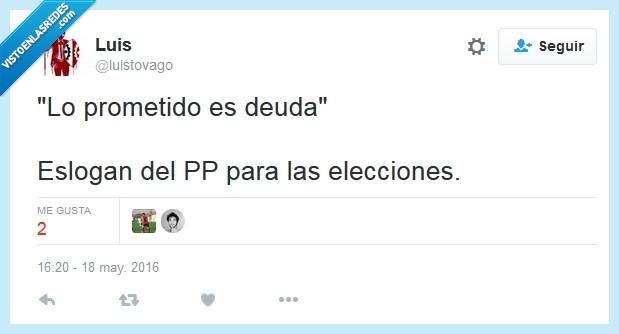 deuda,elecciones,eslogan,honestidad,partido popular,PP,prometido