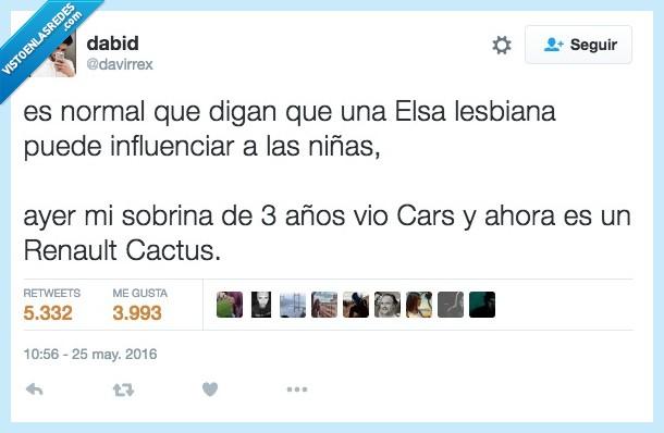 3,ahora,años,cars,Elsa,influenciar,lesbiana,niñas,normal,Renault Cactus,sobrina,tres