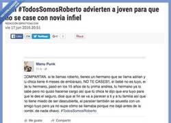 Enlace a Con #TodosSomosRoberto advierten a joven para que no se case con novia infiel