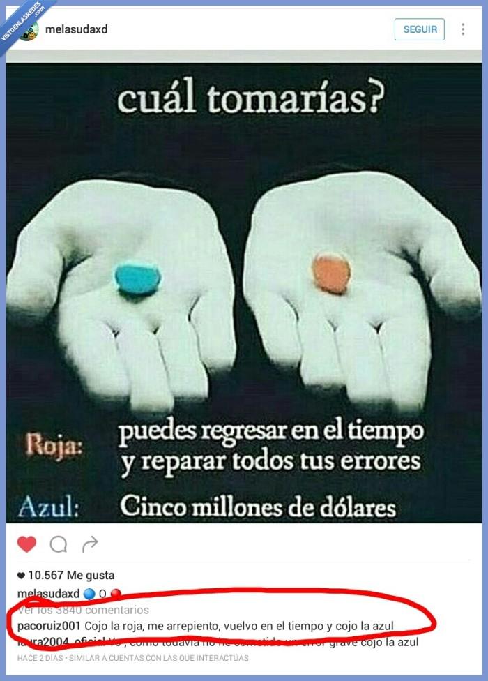 azul,pastilla,rojo