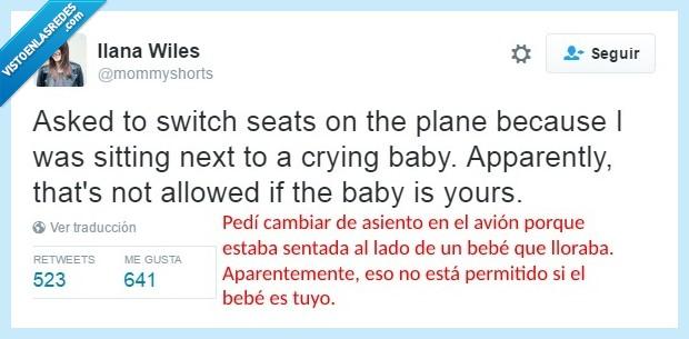 asientos,avión,bebé,cambiar,llorar,madre,permitido