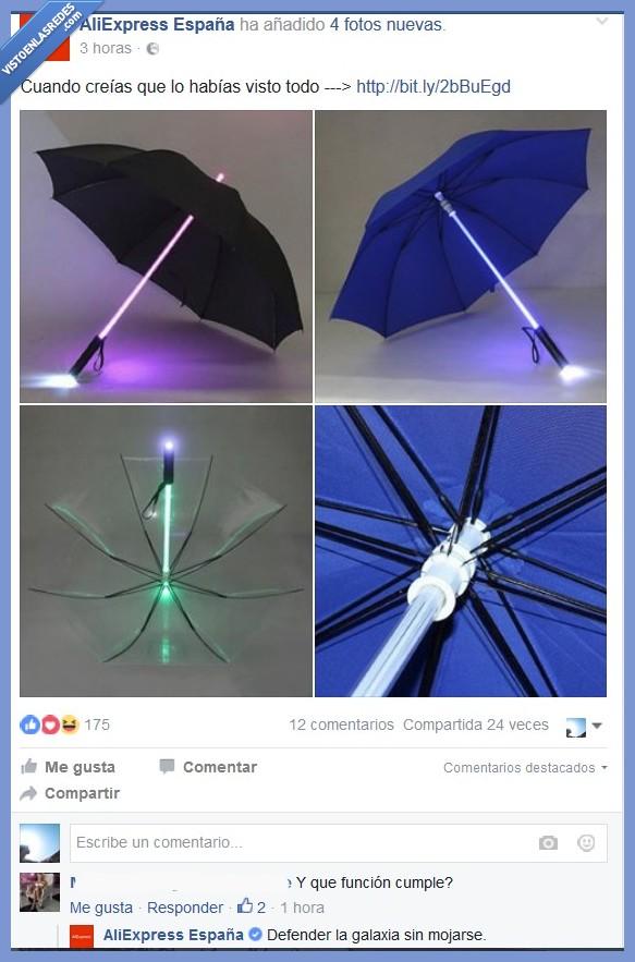 Aliexpress,paraguas,que la fuerza te acompañe,star wars