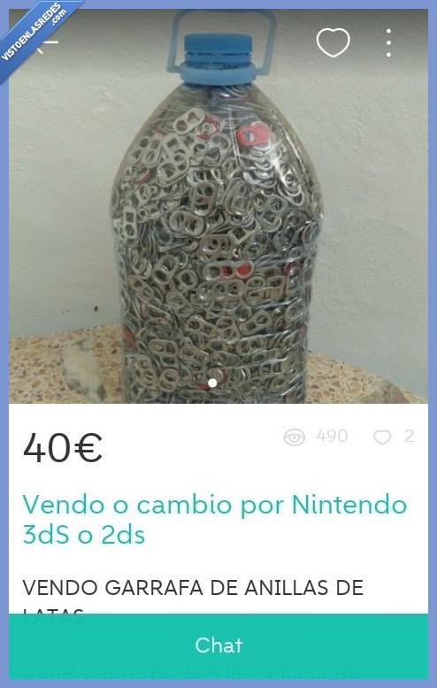 anillas de lata,nintendo,te doy 2€ y me estoy arriesgando,timo,wallapop,wtf,¿y la botella gratis no?