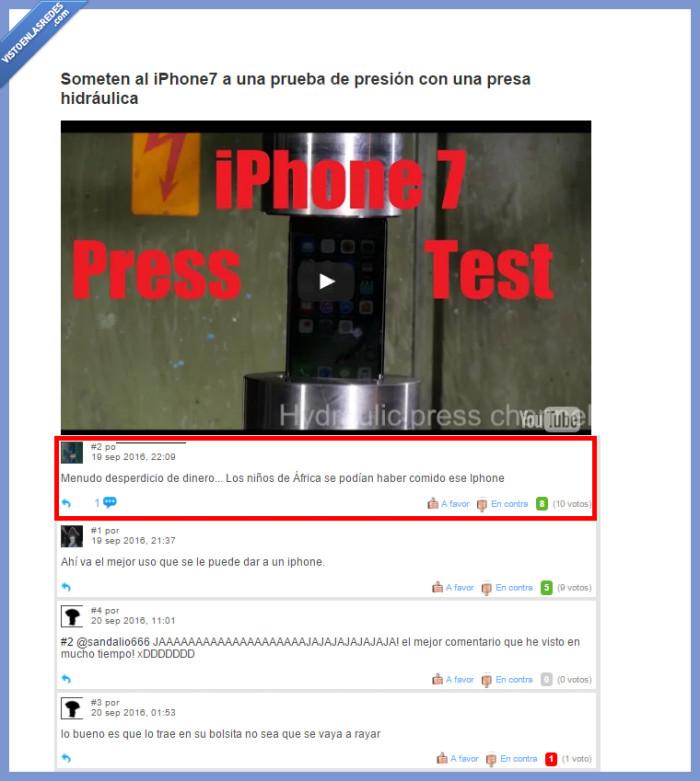 áfrica,destrozar,iphone,iphone7,prensa hidráulica