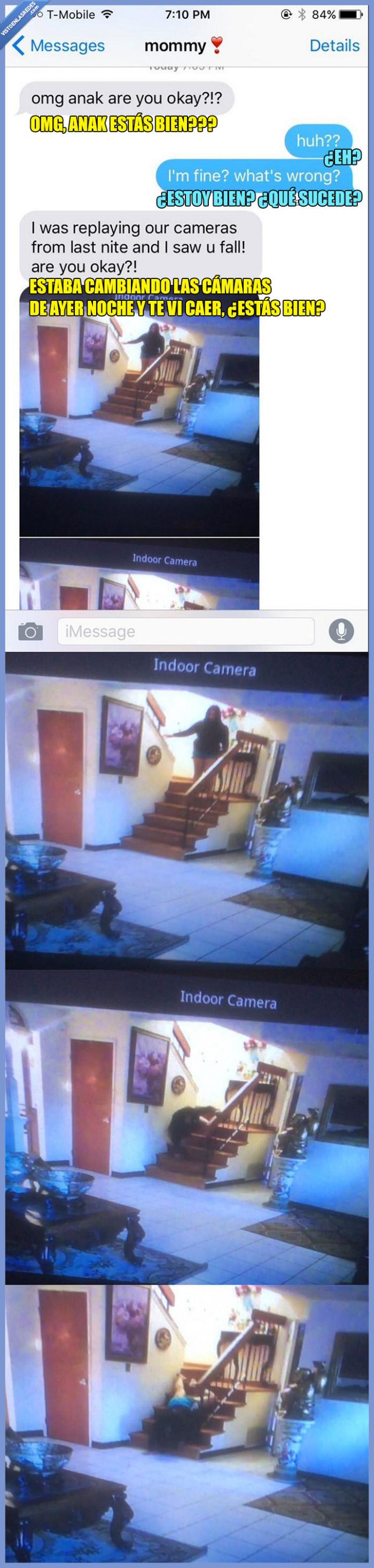 caída,cámara,escaleras,hostiaca
