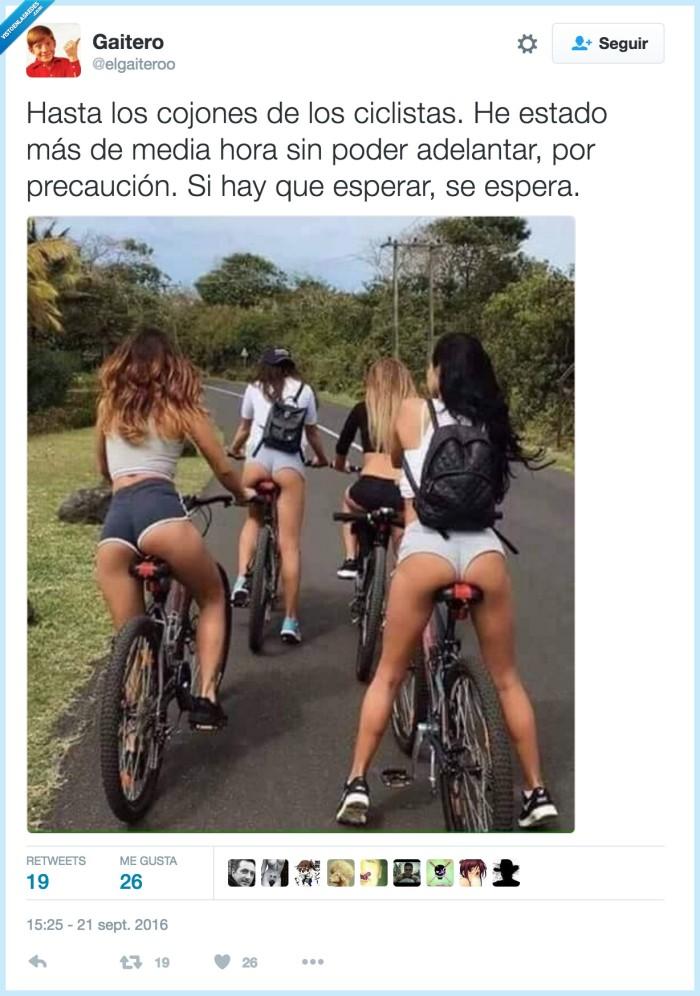 ciclistas,detrás,esperar