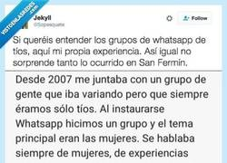 Enlace a Si queréis entender los grupos de whatsapp de tíos, aquí la propia experiencia de un chico