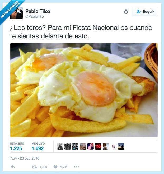 fiesta nacional,huevo frito,toros