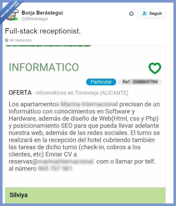 informático,ofertas de trabajo,recepcionista