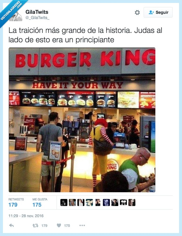 burger king,judas,mcdonald,traición