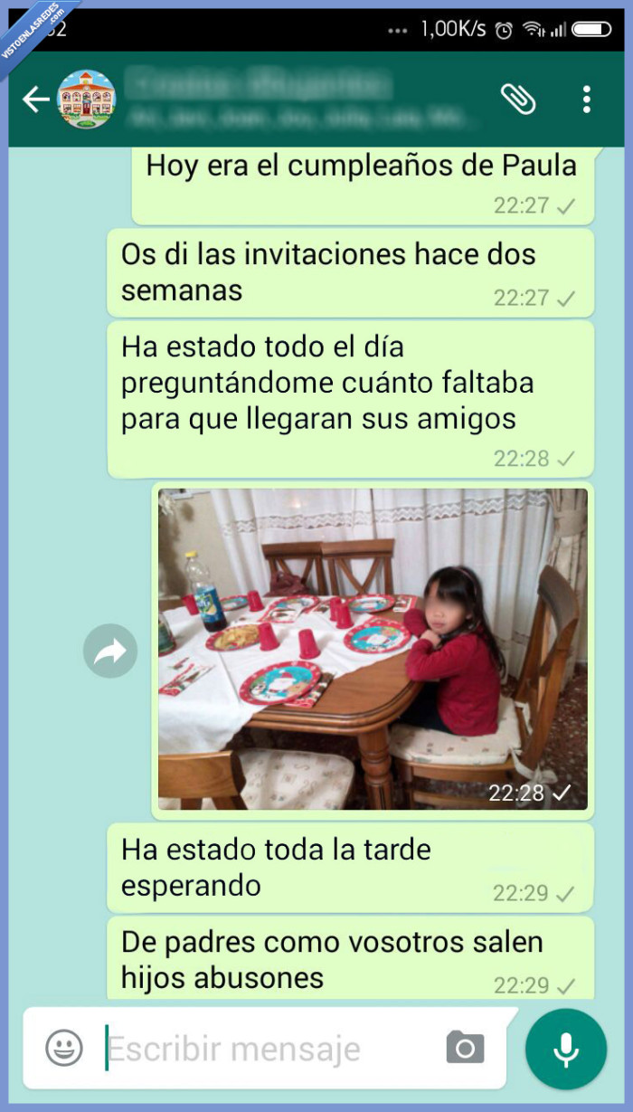 bullying,cumpleaños,forever alone,niña,padres,zasca