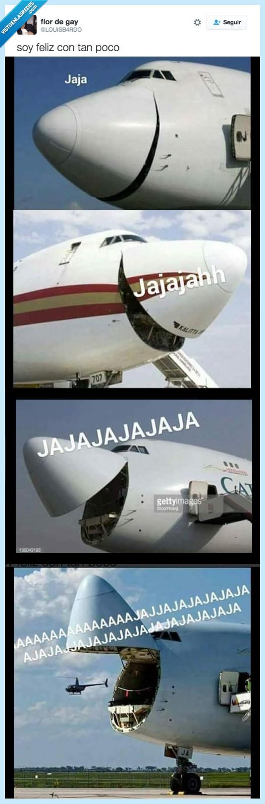 avióon,partirse,risa
