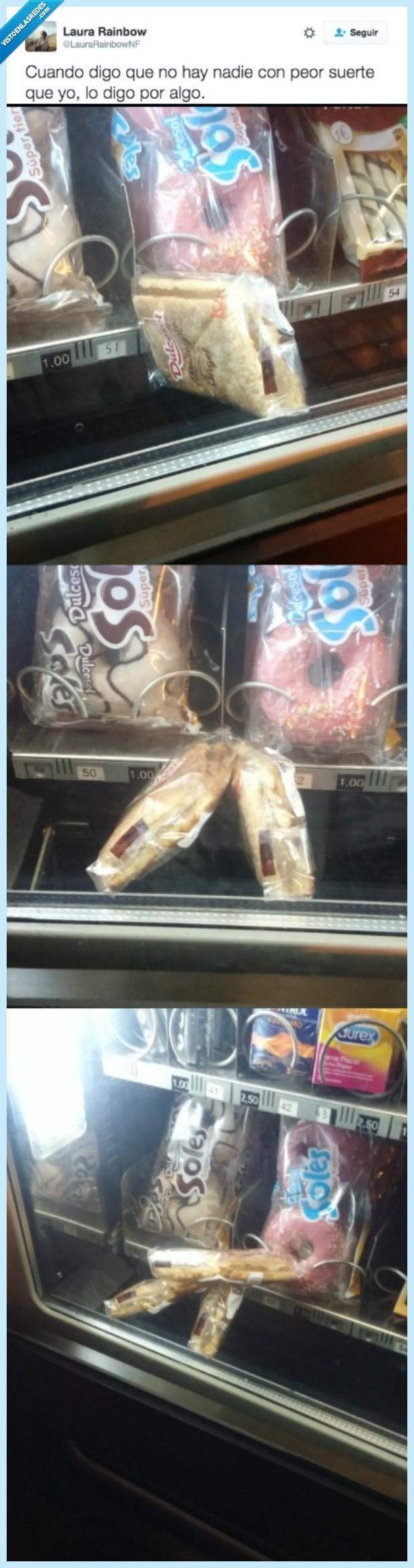 mala suerte,máquina expendedora,pastas
