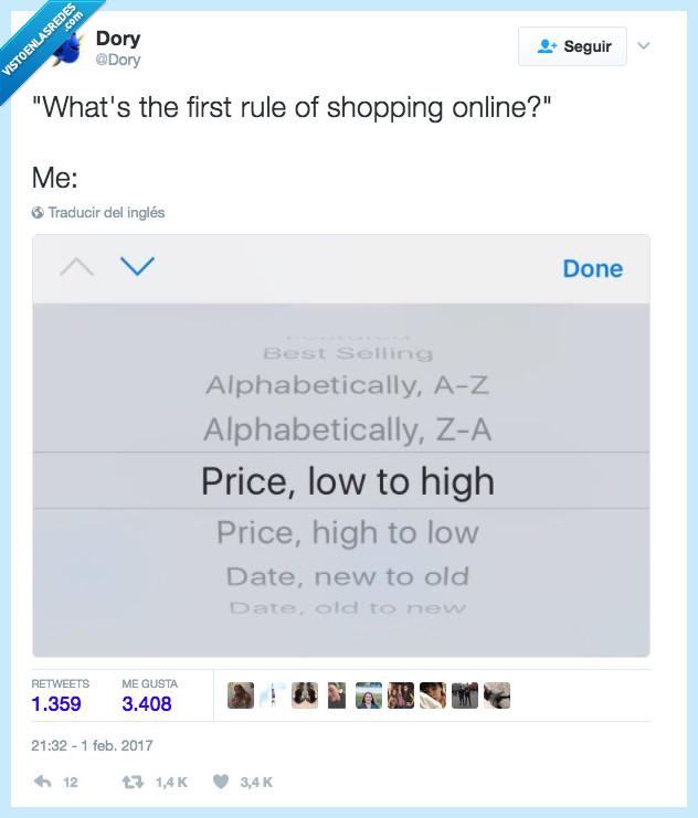 comprar,ordenar de barato a caro,regla