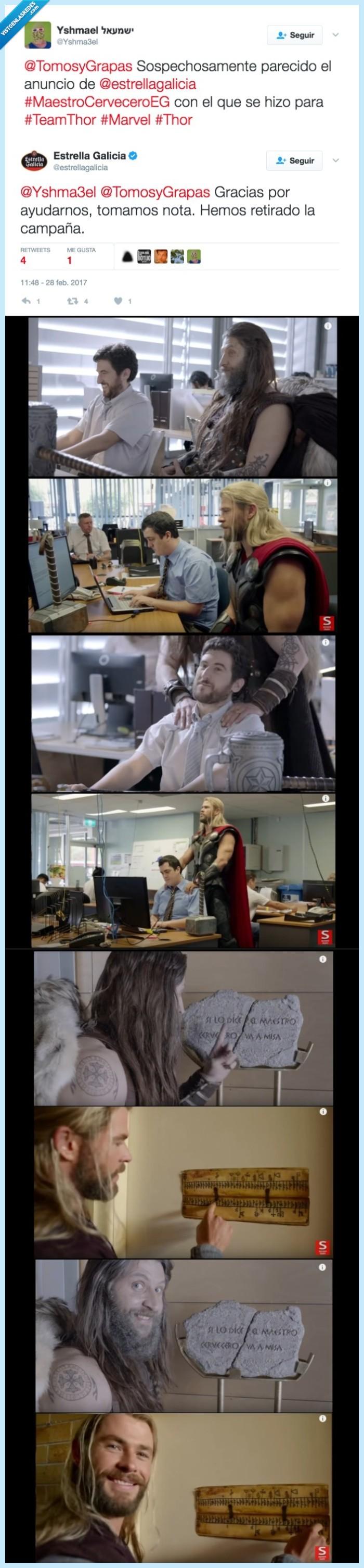 estrella galicia,pillada,plagio,Thor