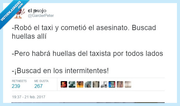 huellas,intermitente,taxista