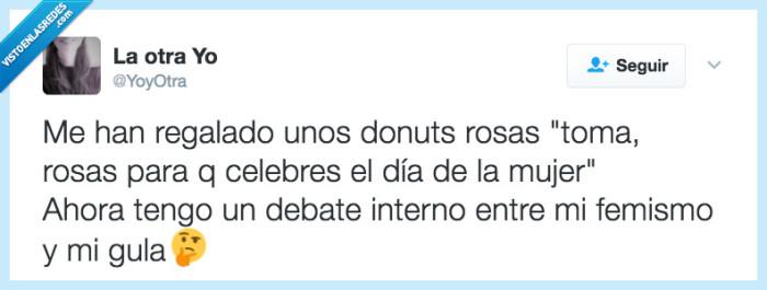 comer,día,donuts,mujer,rosa