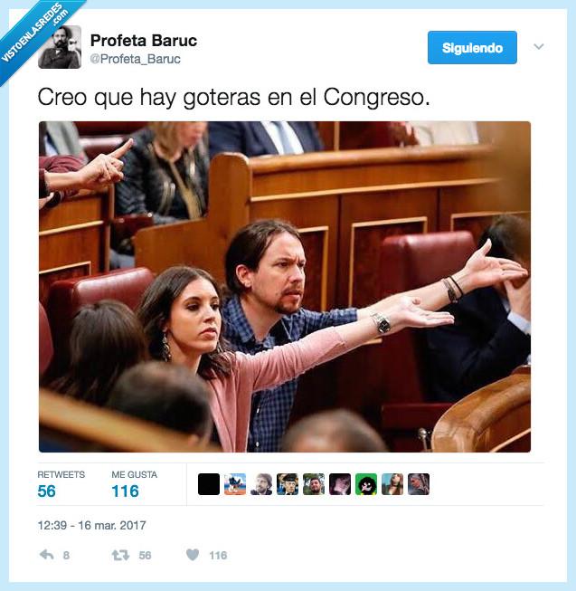 Goteras,Irene Montero,Pablo Iglesias