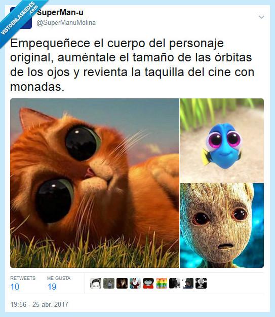 cine,dory,gato con botas,groot,guardianes de la galaxia 2,ojos,películas,taquilla