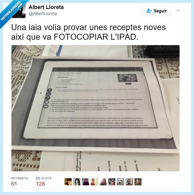fotocopiar,ipad,recetas
