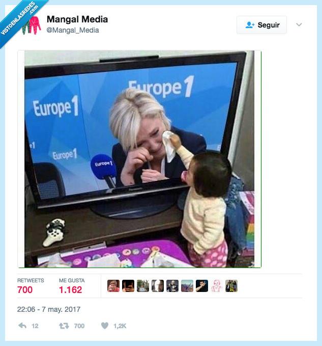 Le Pen,llorar,perder