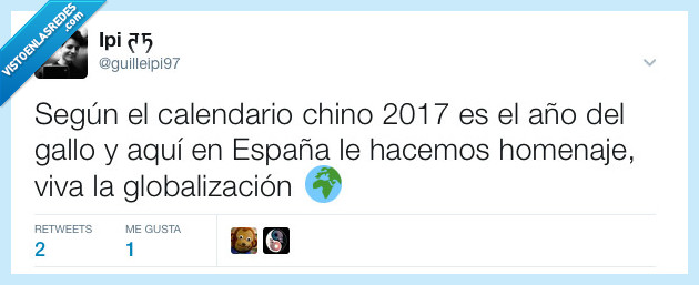 Año nuevo,China,España,Eurovisión,Gallo,Manel