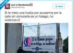 Enlace a La pancarta sobre halagos y acoso que ha indignado a Twitter, por @RosaKittieChaos