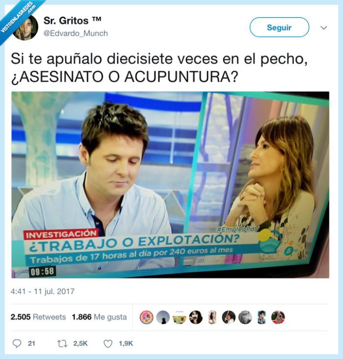 acupuntura,asesinato,explotación,trabajo