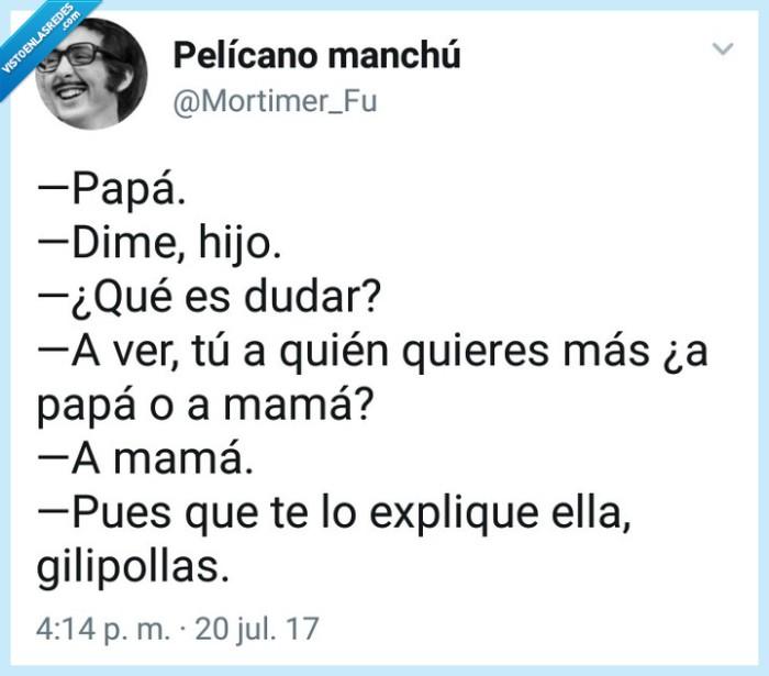 duda,Niño,papá