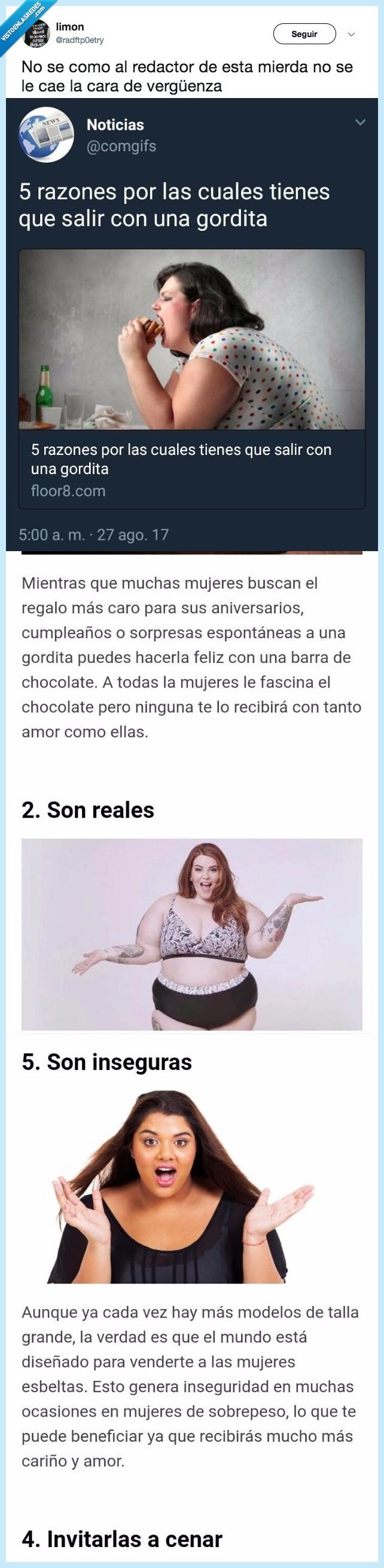asco de artículo,gordofobia,que le quiten el título