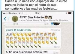 Enlace a El grupo de whatsapp de estas madres celebrando que un niño con Asperger haya sido expulsado