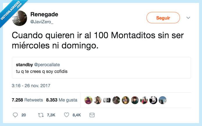100 montaditos,domingo,miercles