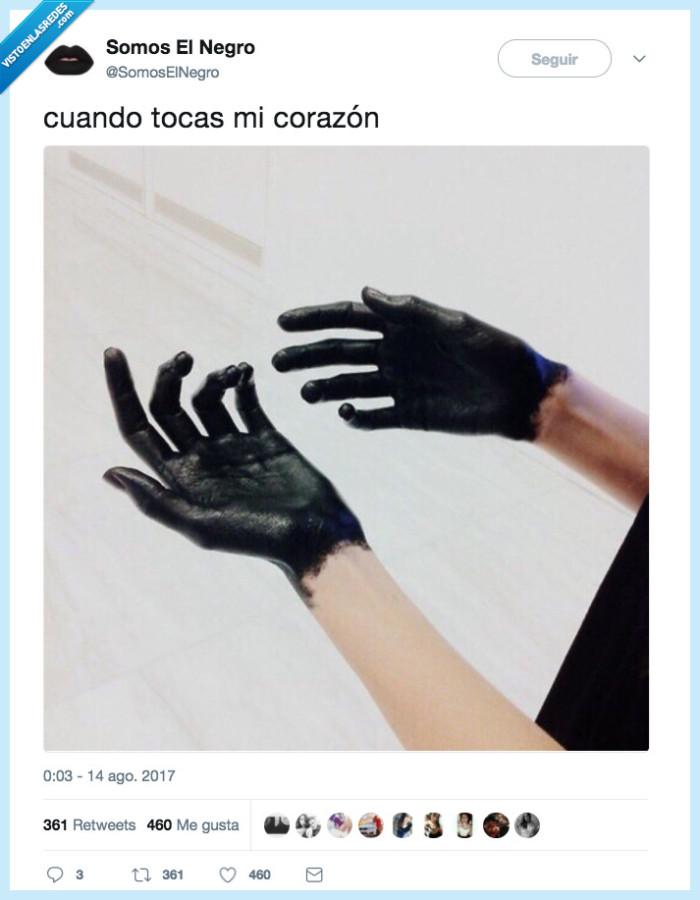 corazón,negro,tocar