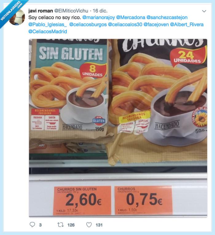 Ocho churros sin gluten 2'60€; veinticuatro churros con gluten 0'75€
