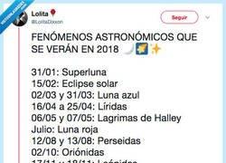 Enlace a Calendario 2018 de fenómenos astronómicos, por @LolitaDixxon