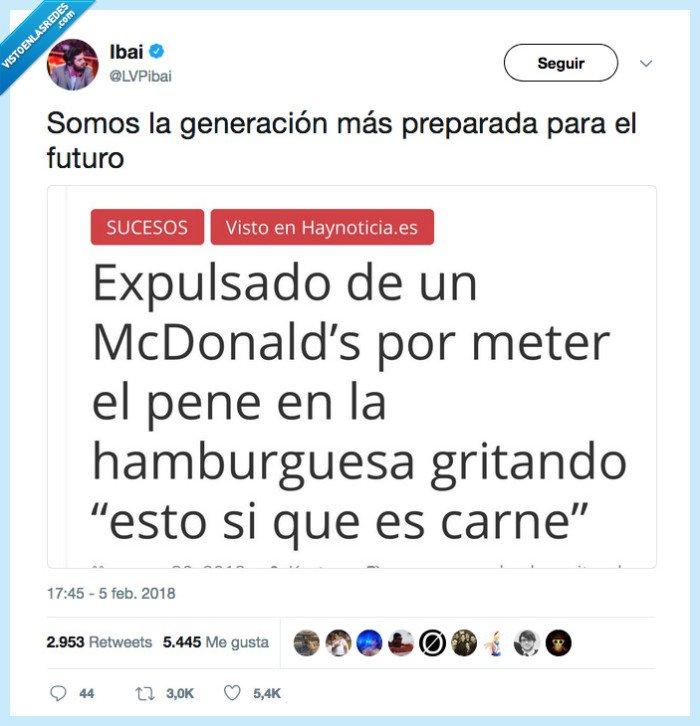 es fake pero el titular hace gracias,expulsar,hamburguesa,mcdonalds