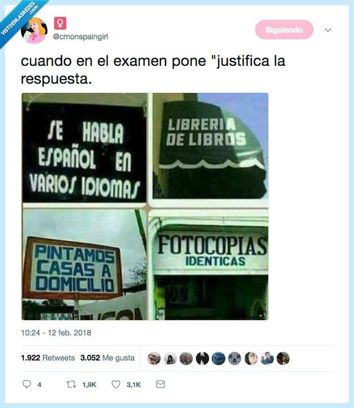 examen,justificar,respuesta