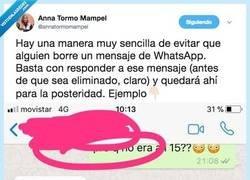 Enlace a Descubre con un sencillo truco la manera de no eliminar mensajes en Whatsapp, por@annatormomampel