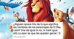 Enlace a ¿Qué significa cada nombre de los personajes del Rey León?, por @teresacr08