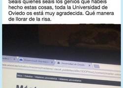 Enlace a Hackean la web de la Universidad de Oviedo y que manera de jartarnos, por @DiegoMdz13