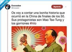 Enlace a Como Mao Tse Tung provocó millones de muertes por su obsesión con los gorriones, por @Evocador