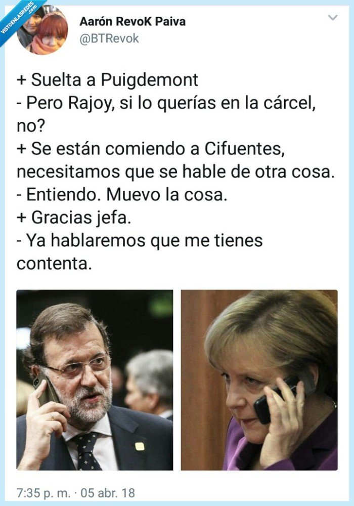 Cifuentes,Merkel,Puigdemont,Rajoy