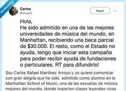 Enlace a Este músico se ve obligado a pedir dinero por Twitter para poder cumplir su sueño, por @cmusic5