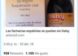Enlace a Nos hemos quedado sin Dalsy en las farmacias españolas y la gente ha enloquecido, pot @tiinna99