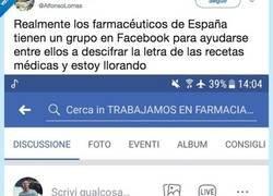 Enlace a Los farmacéuticos españoles tienen un grupo de Facebook donde van a pedir ayuda cuando no entienden la letra de las recetas, por @AlfonsoLomas