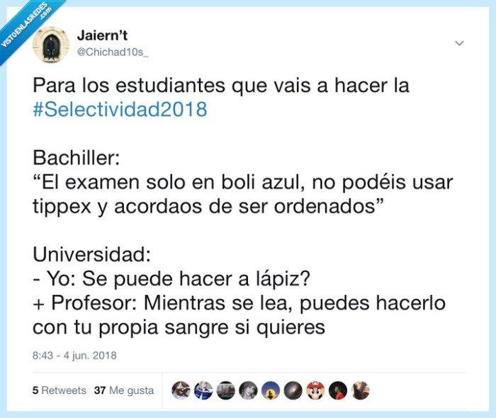 2018,bachiller,examen,pau,selectividad,twitter,universidad